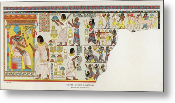 18th Dynasty  Syrian Chiefs Pay Tribute Metal Print by Mary Evans Picture Library
