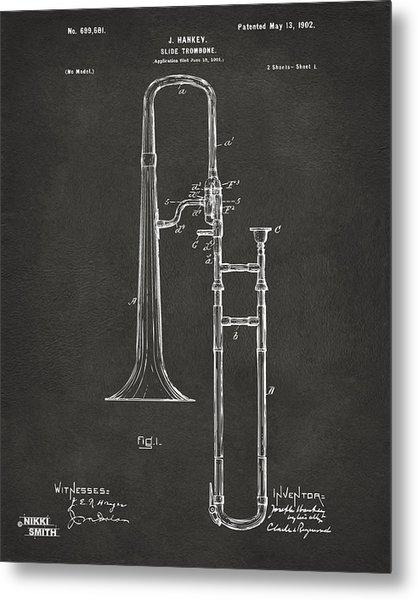 1902 Slide Trombone Patent Artwork - Gray Metal Print