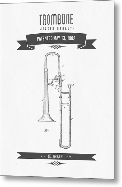1902 Trombone Patent Drawing Metal Print