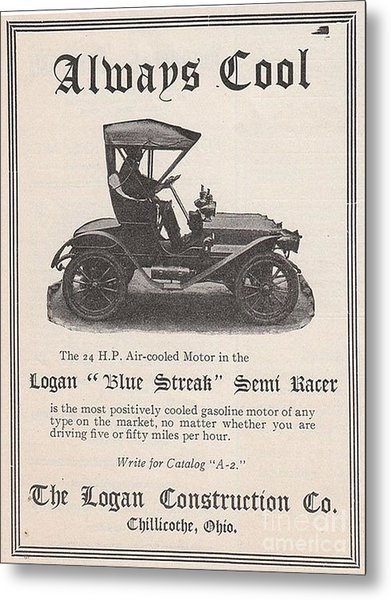 1905 Logan Automobile Poster Metal Print