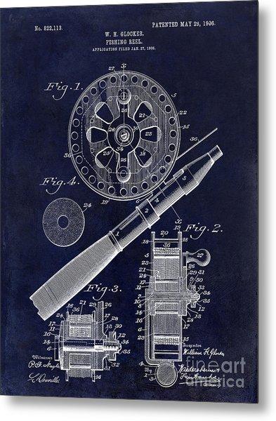 1906 Fishing Reel Patent Drawing Blue Metal Print