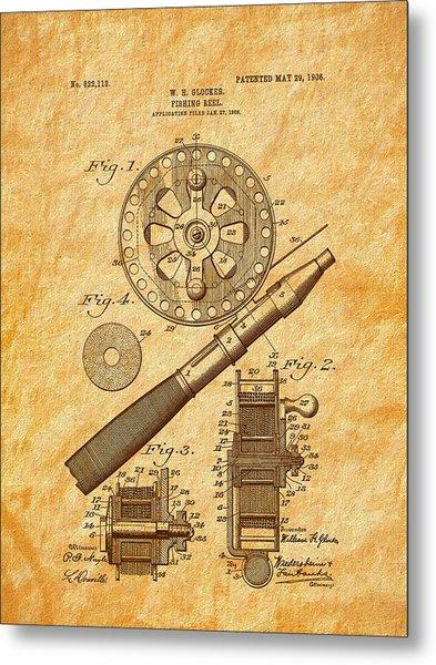 1906 Glocker Fishing Reel Patent Metal Print by Barry Jones