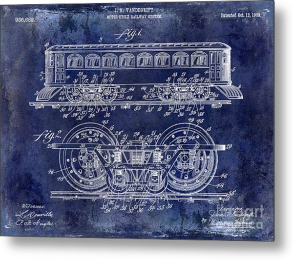 1909 Railway System Patent Drawing Blue Metal Print