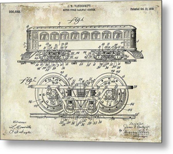 1909 Railway System Patent Drawing  Metal Print