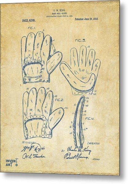 1910 Baseball Glove Patent Artwork Vintage Metal Print