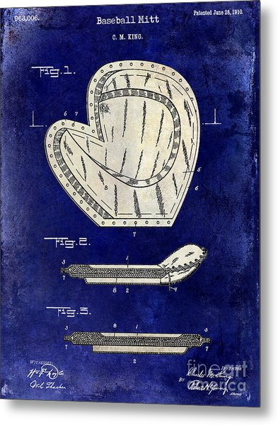 1910 Baseball Patent Drawing 2 Tone Blue Metal Print