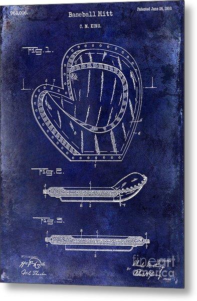 1910 Baseball Patent Drawing Blue Metal Print