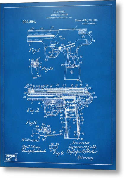 1911 Automatic Firearm Patent Artwork - Blueprint Metal Print