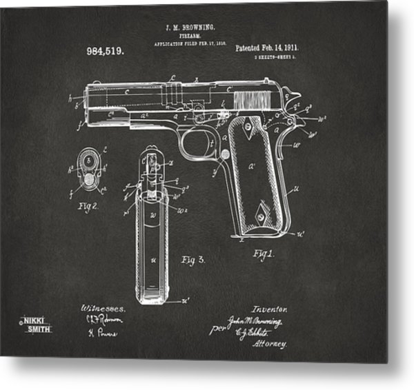 1911 Browning Firearm Patent Artwork - Gray Metal Print