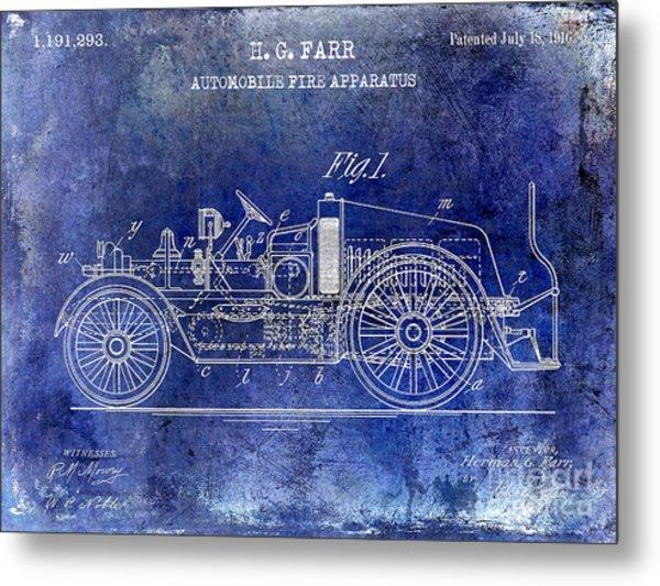 1916 Automobile Fire Apparatus Patent Drawing Lt Blue Metal Print