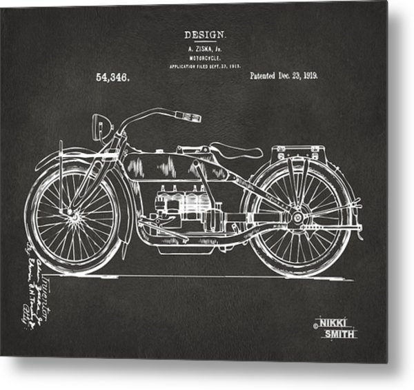 1919 Motorcycle Patent Artwork - Gray Metal Print