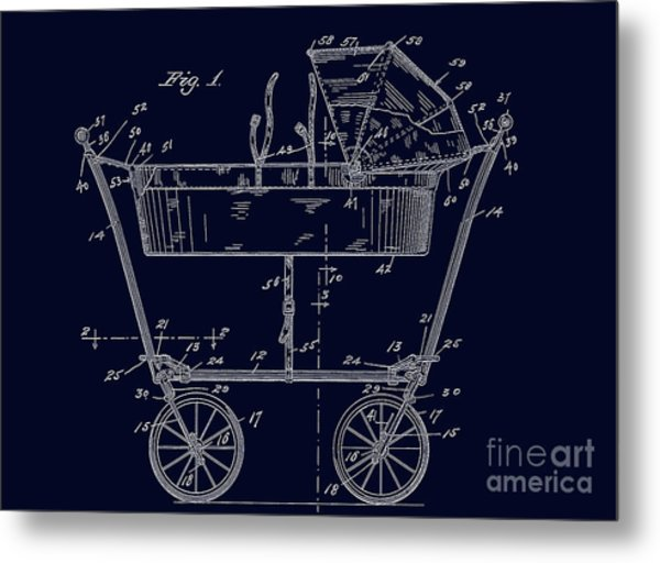 1922 Baby Carriage Patent Art Blueprint Metal Print