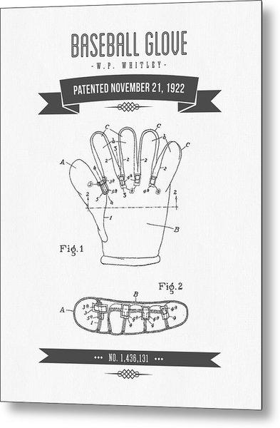 1922 Baseball Glove Patent Drawing Metal Print