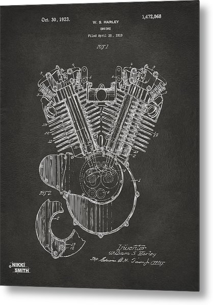 Metal Print featuring the digital art 1923 Harley Engine Patent Art - Gray by Nikki Marie Smith