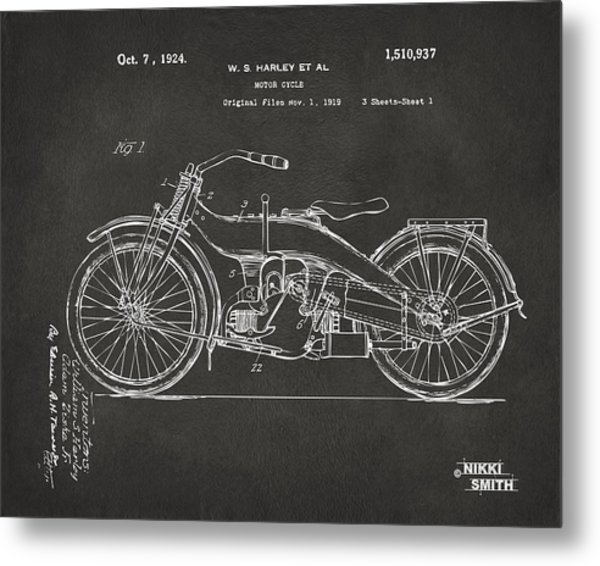 Metal Print featuring the digital art 1924 Harley Motorcycle Patent Artwork - Gray by Nikki Marie Smith