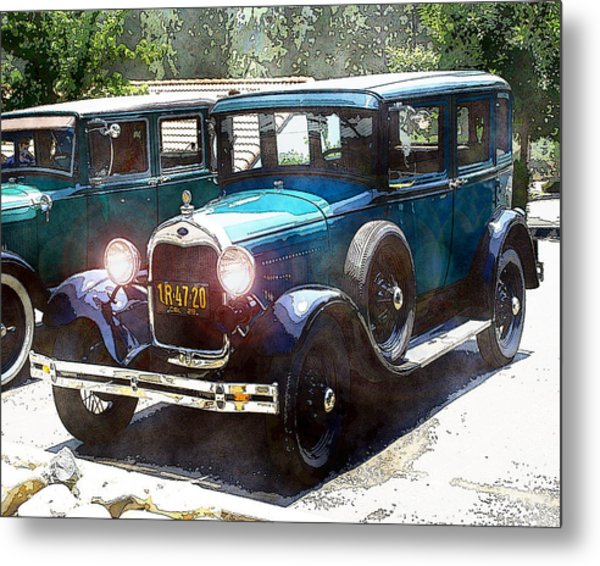 Metal Print featuring the photograph 1927 Ford Lights On by William Havle