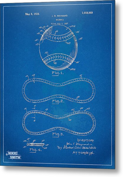 Metal Print featuring the digital art 1928 Baseball Patent Artwork - Blueprint by Nikki Smith