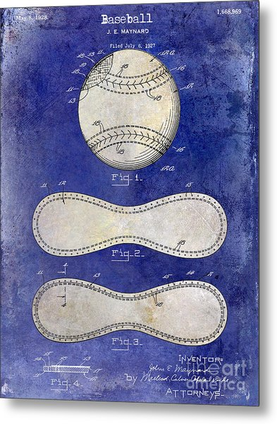 1928 Baseball Patent Drawing 2 Tone Blue Metal Print