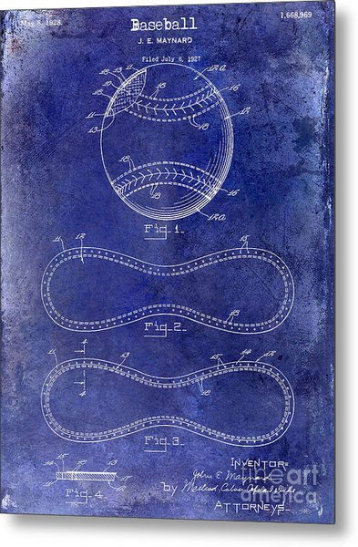 1928 Baseball Patent Drawing  Blue Metal Print