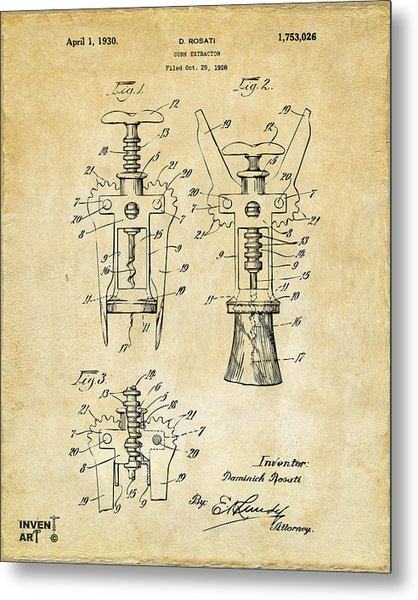 Metal Print featuring the digital art 1928 Cork Extractor Patent Art - Vintage Black by Nikki Marie Smith