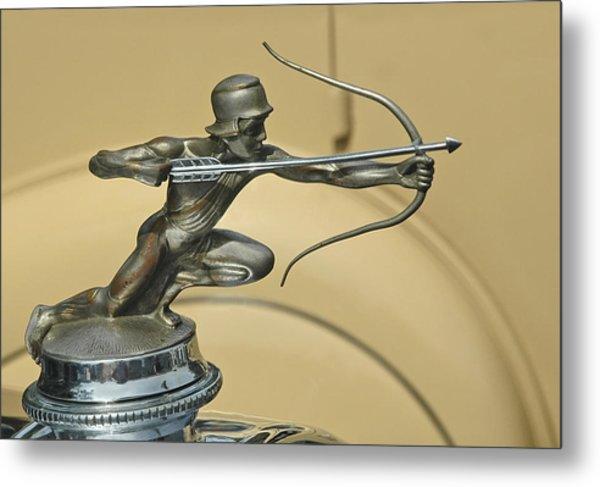 1928 Pierce Arrow Helmeted Archer Hood Ornament Metal Print