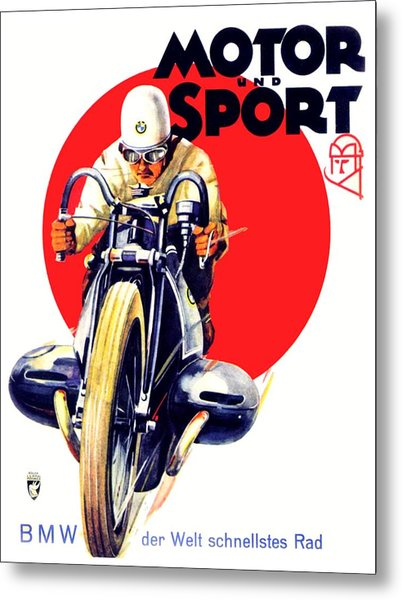 1929 - Bmw Motorcycle Poster - Color Metal Print