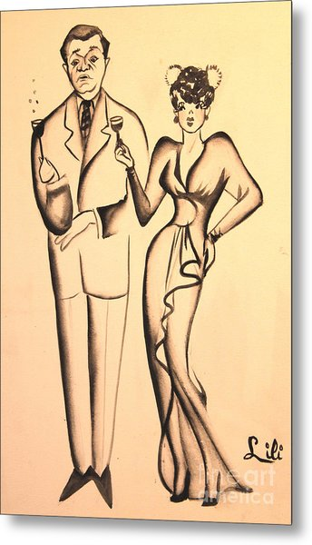 1930s Couple On The Town Metal Print