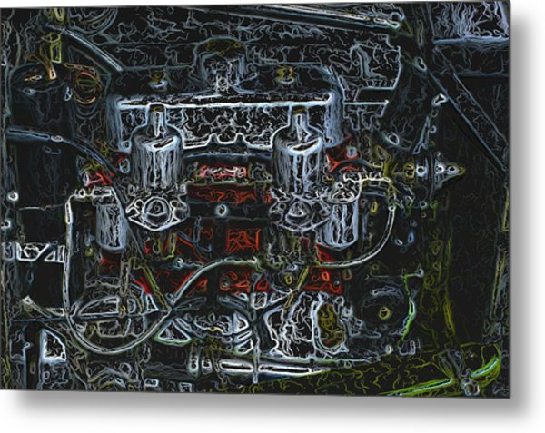 1932 Frazer Nash Tt Engine Detail Digital Art Metal Print