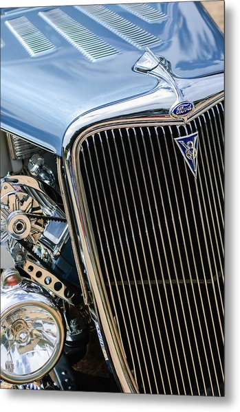 1934 Ford Deluxe Hot Rod Grille Emblem Metal Print