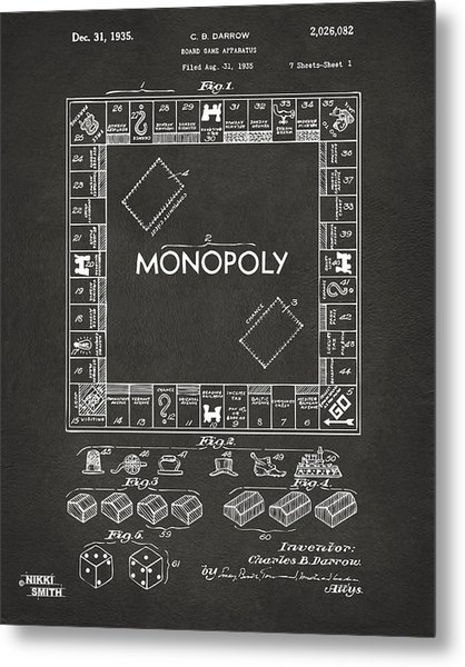 Metal Print featuring the digital art 1935 Monopoly Game Board Patent Artwork - Gray by Nikki Marie Smith