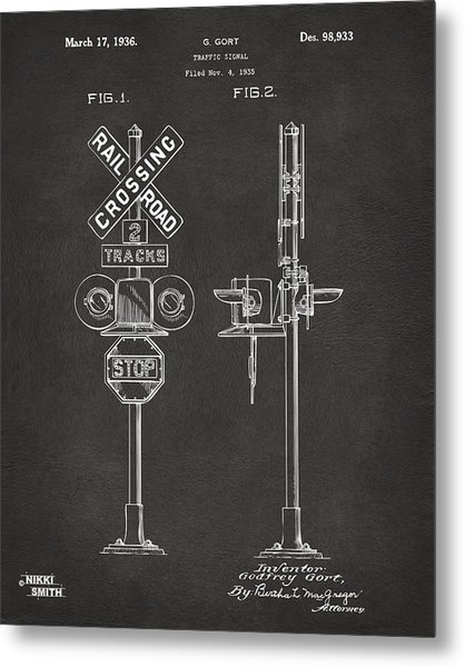 1936 Rail Road Crossing Sign Patent Artwork - Gray Metal Print