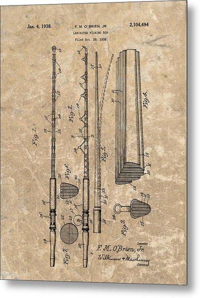 1938 Laminated Fishing Rod Patent Metal Print