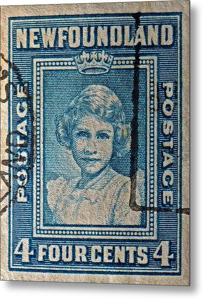 1938 Queen Elizabeth II Newfoundland Stamp Metal Print