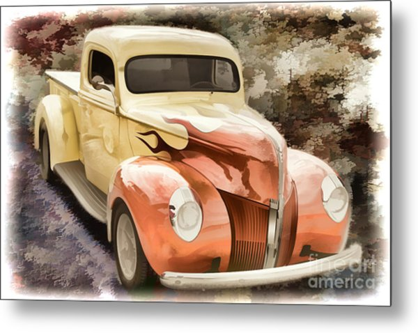 1940 Ford Pickup Truck Painting Car Or Automobile In Color  3133 Metal Print