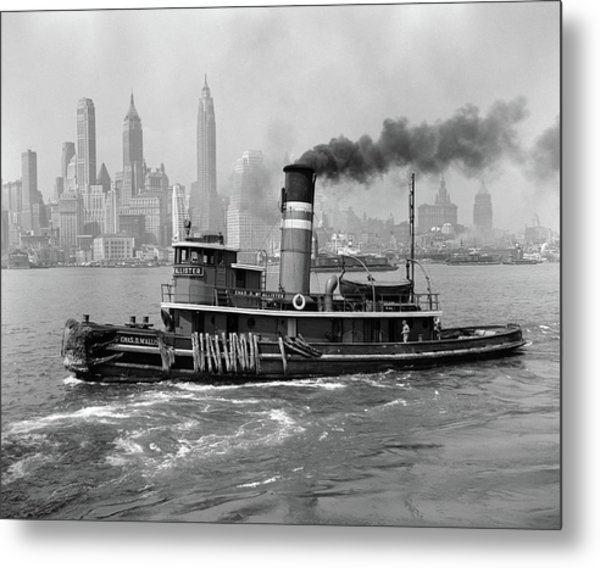 1940s Steam Engine Tugboat On Hudson Metal Print