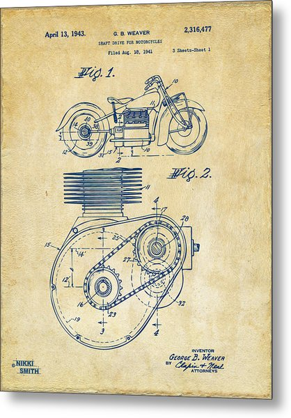 Metal Print featuring the digital art 1941 Indian Motorcycle Patent Artwork - Vintage by Nikki Marie Smith