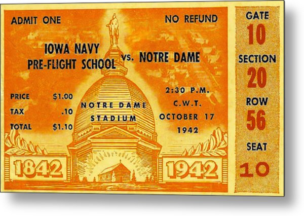 1942 Football Ticket Notre Dame Vs Iowa Navy Pre-flight Metal Print