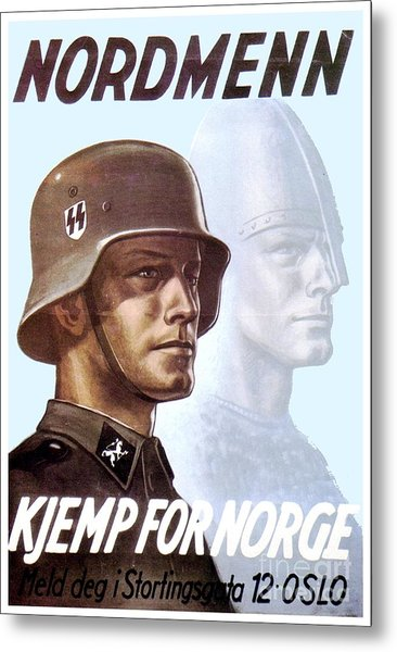 1943 - German Waffen Ss Recruitment Poster - Norway - Color Metal Print