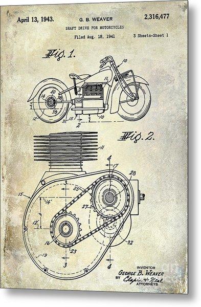 1943 Indian Motorcycle Patent Drawing Metal Print