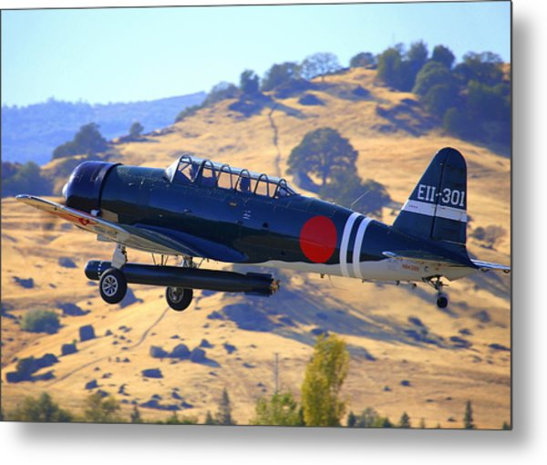 1944 Snj-5c Japanese Zero Mock-up With Torpedo Climbing Out N6438d Metal Print by John King
