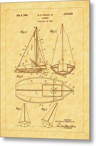 1948 Sailboat Patent Art Metal Print by Barry Jones