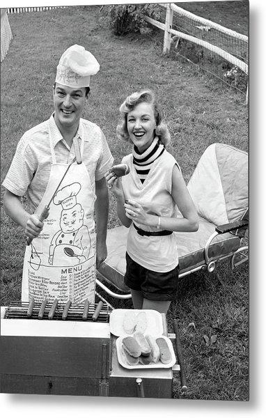 1950s 1960s Couple Backyard Grilling Metal Print
