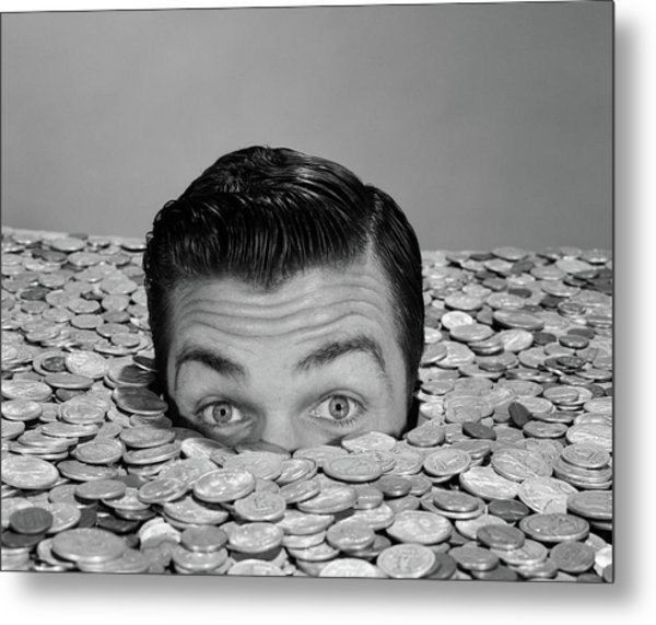 1950s 1960s Funny Man Buried Up To Eyes Metal Print