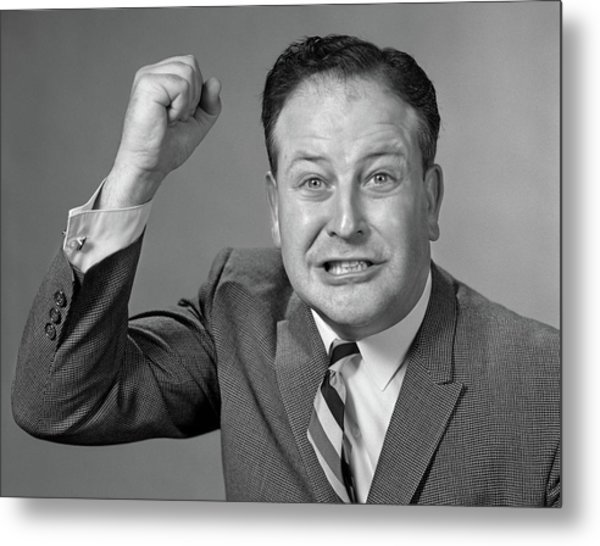 1950s 1960s Portrait Of Angry Man Metal Print