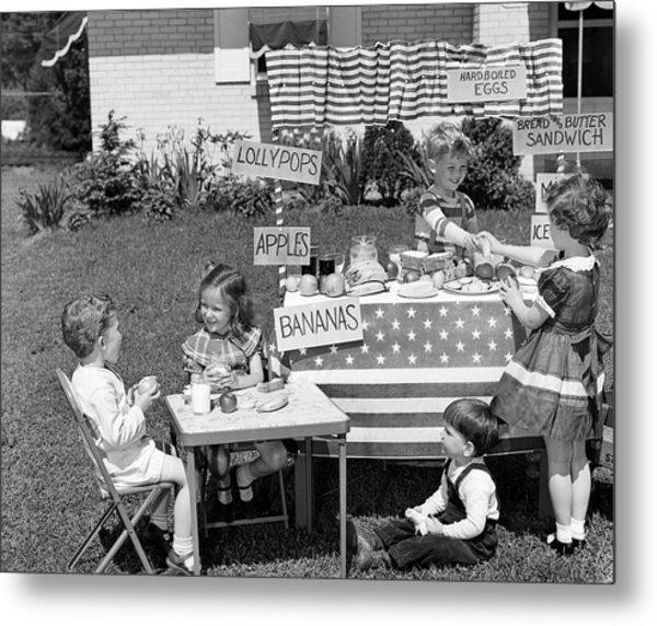1950s Kids In Backyard Playing Store Metal Print