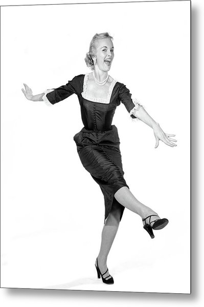1950s Laughing Happy Excited Woman Metal Print