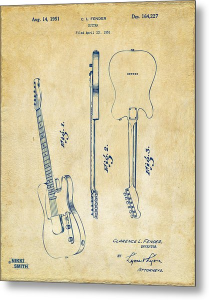 1951 Fender Electric Guitar Patent Artwork - Vintage Metal Print