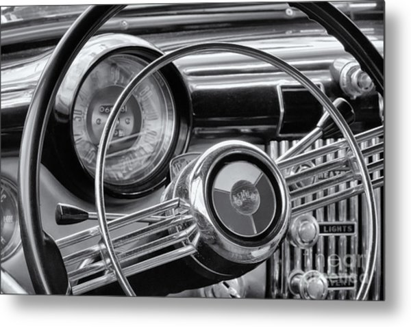 1953 Buick Super Dashboard And Steering Wheel Bw Metal Print