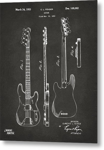 Metal Print featuring the digital art 1953 Fender Bass Guitar Patent Artwork - Gray by Nikki Marie Smith