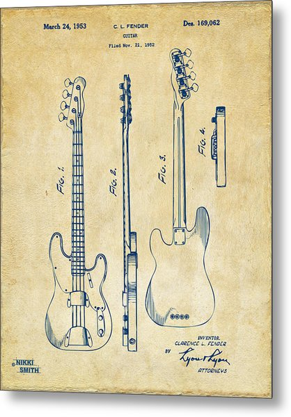 Metal Print featuring the digital art 1953 Fender Bass Guitar Patent Artwork - Vintage by Nikki Marie Smith